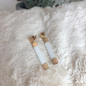NWOT gold and white earrings